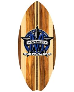 Mini Wooden Surfboard: Blue Star