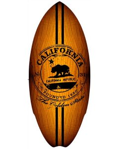 Mini Wooden Surfboard: California Stamp