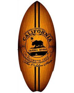 Mini Wooden Surfboard: California Stamp