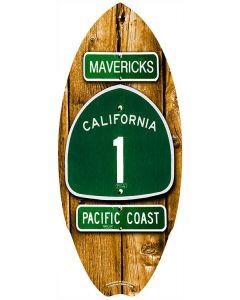 Mini Wooden Surfboard Decor: Highway 1