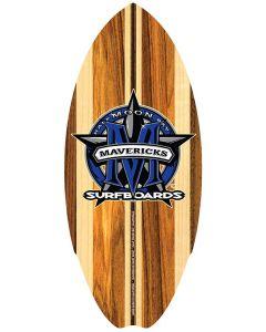 Mini Wooden Surfboard: Blue Star