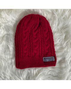 Braidy Knit Beanie Mavericks Tag Log-Cardinal