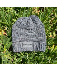 Mavericks Leather Patch Speckled Beanie-Charcoal