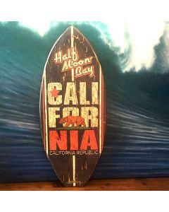 Mini Wooden Surfboard Decor: Vintage California Star